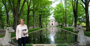 Diane poses in front of the reflecting pool!